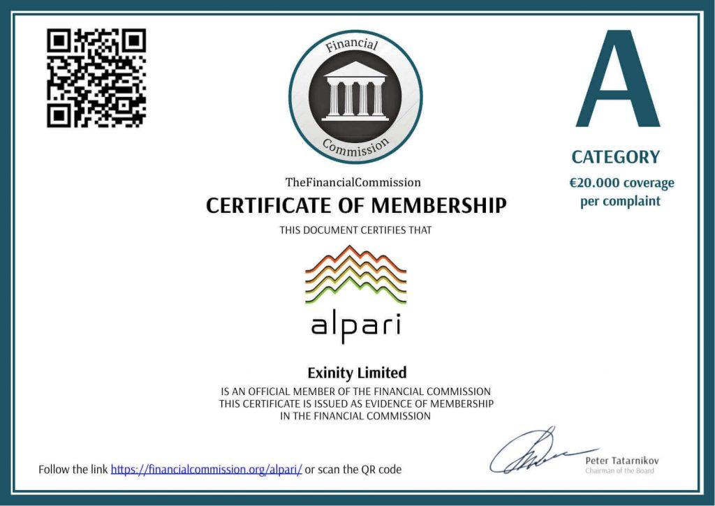 giấy phép FSC sàn Alpari